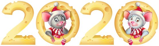 Free New Year 2020 Mouse Twins. Mice In Santa Costume And Cheese Calendar Stock Photo - 160213200