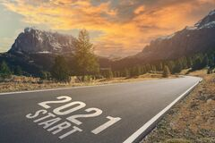 Free New Year 2021 The Way To Go Concept. 2021 Start Written On The Asphalt Ground Royalty Free Stock Image - 203588766