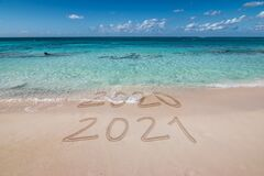 Free New Year 2021 Written On The Beach. Stock Image - 204174111