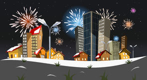 New year. Colorful vector city - New year Stock Image
