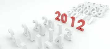 New year. 3D render depicting new year 2012transition Royalty Free Stock Photo