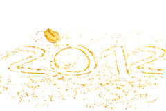 New year. Countdown new year written with yellow stones Royalty Free Stock Images