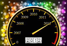New Year. Speedometer with coming new year is shown in the picture Stock Illustration