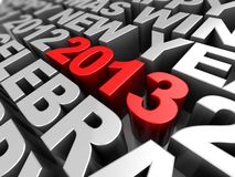 New year. 3d texts with symbol of new year- red 2013 in middle of grey words Royalty Free Stock Images