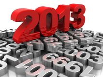 New year. 3d illustration, red 2013 placed on grey numbers vector illustration