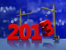 New year. 2013 with two cranes on the christmas background royalty free illustration