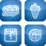 New Year. Symbols, from left to right, top to bottom: 2013, Fireworks, �s Eve, Disco ball. All icons are part of the 2D Cobalt Icons Set saved as an EPS Royalty Free Illustration