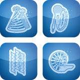 New Year. Symbols, from left to right, top to bottom: 's Hat, Microphone, Streamer, Party Horn Blower. All icons are part of the 2D Cobalt Icons Set saved as an vector illustration