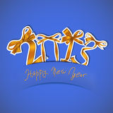 New year. 2013 golden ribbons greeting card Stock Photo
