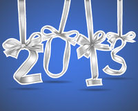 New year. 2013 silver ribbons greeting card Royalty Free Illustration