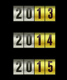 New year. 2013, 2014 and 2015 on a metalic surface Stock Photo
