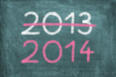 New Year. Blackboard with 2013 and 2014 stock photography