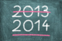 New Year. Blackboard with 2013 and 2014 royalty free stock images
