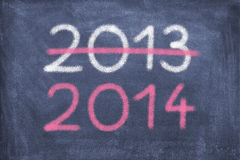 New Year. Blackboard with 2013 and 2014 royalty free stock image