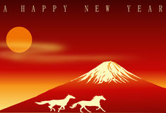Mt. Fuji for New year card. vector Royalty Free Stock Photography