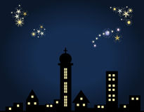 New Year. / night scene: Little town and fireworks Stock Photography
