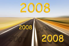 New year. 2008 new year and road with effect motion blur Vector Illustration