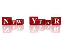 New Year in 3d cubes. 3d red cubes with letters makes New Year Royalty Free Stock Photos