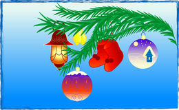 New Year. The beautiful fur-tree branch decorated with New Year's toys Stock Illustration