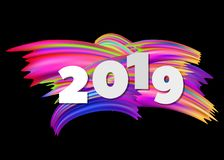 New Year 2019 abstract background with colorful brushstroke. Vector illustration stock illustration