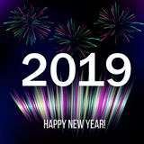 New Year 2019 abstract background with colorful firework. Vector illustration vector illustration