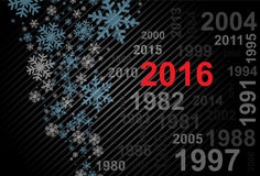 New Year 2016. Abstract New Year 2016 background with different dates on a black background with snowflakes Royalty Free Stock Photo