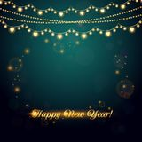 New Year abstract background with light garland. Vector illustration Royalty Free Stock Photos