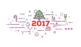 New year abstract banner. Happy new 2017 year flat line concept banner. New-year objects in red and pink gradient colors. Abstract lines, dots and objects Royalty Free Stock Image
