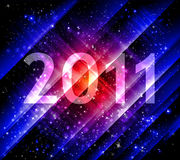 New year abstract blue background. 2011 new year abstract background with shiny stripes and stars royalty free illustration