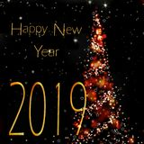 2019 new year and abstract christmas tree stock photos