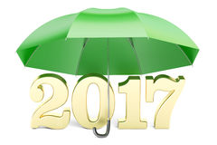 2017 New Year abstract concept with umbrella, 3D rendering Stock Photo