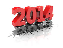 New year. Abstract 3d illustration of year 2013 chang to 2014, over white background Stock Photography
