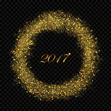 2017 New Year abstract gold glittering star dust rain circle on the alpha background. Rich Golden Explosion. Confetti effect. Luxury NY 2017 banner Stock Images