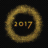 2017 New Year abstract gold glittering star dust rain circle. On the alpha transparent background. Rich Golden Explosion Confetti effect. Luxury NY 2017 banner Stock Images