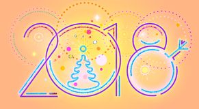 2018 New Year abstract numerals.  illustration of 2018 New Year numerals and colorful decorations. Royalty Free Stock Photography