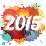 2015 New Year abstract paint splat colorful background Royalty Free Stock Photo