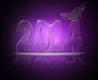 Happy new year 2014. Abstract happy new year 2014 text in glass and light effect Stock Images