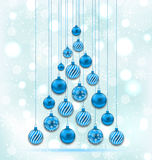 New Year Abstract Tree made in Hanging Balls Stock Photo
