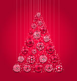New Year Abstract Tree Made in Pink Hanging Balls Stock Image