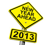 New Year Ahead 2013. Road Sign Indicating New Year 2013 Ahead Stock Image