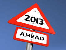 New Year Ahead. Road Sign Indicating 2013 Ahead Stock Images