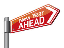 New Year ahead. Red color new year road sign stock illustration