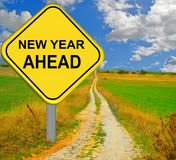 New year ahead red road sign - 3d rendering Stock Photo