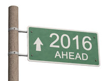 New Year 2016 ahead. Year 2016 Ahead road sign. 3d illustration Royalty Free Stock Photo