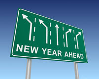 New year ahead road sign 3d illustration Stock Image
