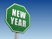 New year ahead sign concept 3d illustration. New year ahead green road sign 3d concept illustration stock illustration