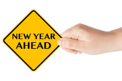 New year Ahead Sign. New year Ahead traffic sign in woman's hand on a white background vector illustration
