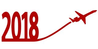 New Year 2018 with Airplane Stock Image