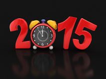New Year 2015 with alarm clock (clipping path included) Stock Images