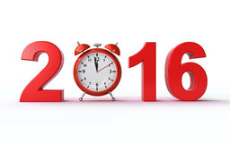 New year 2016. Alarm clock counting last minutes before the new year 2016 (3d render Stock Image
